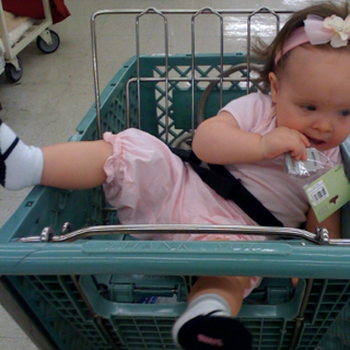 This is how Kensington rolls in the shopping cart.